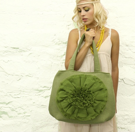 green chiffon flower handbag by MojoSpaStyle #lifeinstyle #greenwithenvy