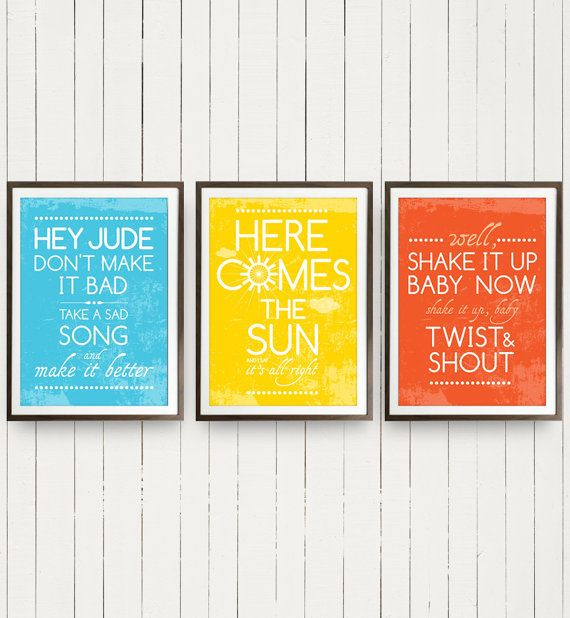 Beatles Group Trio Posters Music Hey Jude, Here Comes the Sun and Twist and Shout Beatles Posters Music Art - A3 size Posters Music art on Etsy, $52.80 CAD