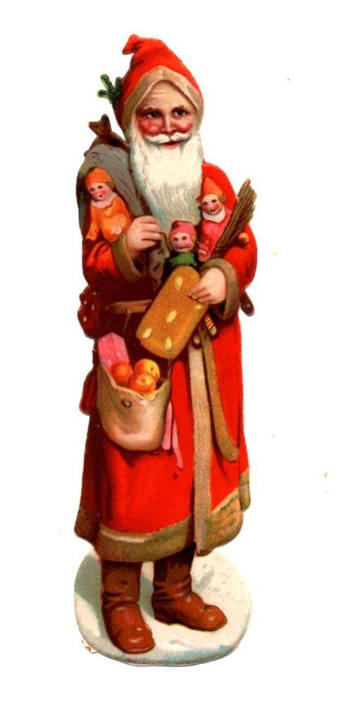 Alte Oblate Glanzbilder Scraps Weihnachtsmann mit Puppen Lebkuchen 14cm ...:
