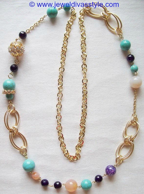 JDS - GOLD MULTI COLOURED NECKLACE - http://jeweldivasstyle.com/my-personal-collection-yellow-gold-and-multi-gold-jewellery/