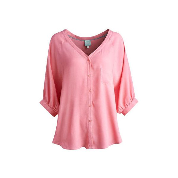 Pale Peachy Pink Tislow Womens Blouse | Joules UK (€32) ❤ liked on Polyvore featuring tops, blouses, shirts, long-sleeved shirts, crepe blouse, red top, joules shirts, red long sleeve shirt and shirt blouse