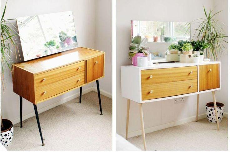 Antes y después de forrar con vinilo un mueble de melamina