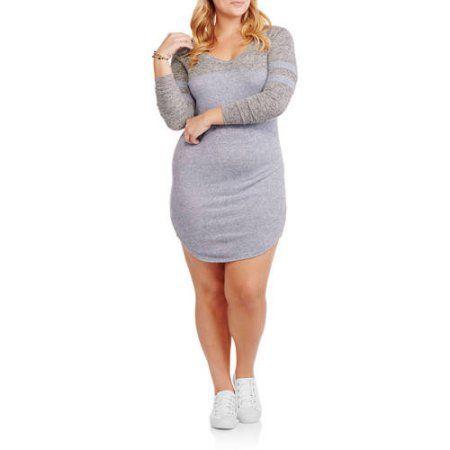 Plus Size No Comment Juniors' Plus V-Neck Football Dress, Size: 1XL, Blue