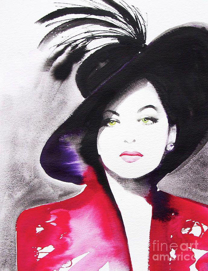 Ava Gardener Red Black Hat Painting by Kimberly Godfrey