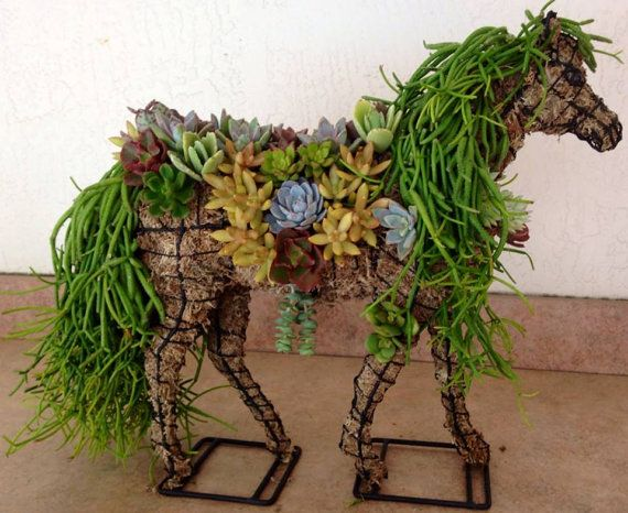 DIY Succulent Horse Topiary Centerpiece by RootedInSucculents