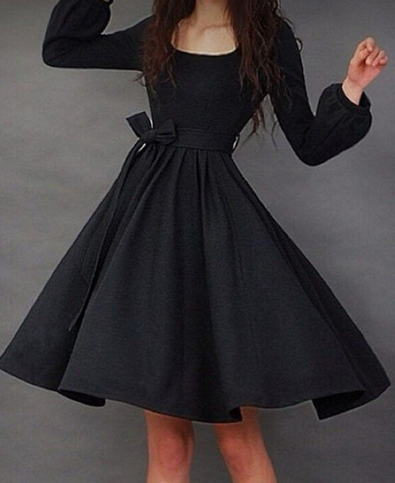 Black Plain Belt Pleated Round Neck Lantern Sleeve Midi Dress