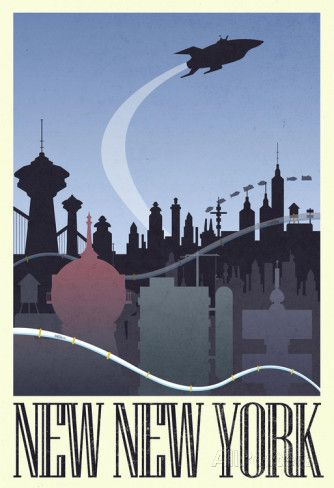 New New York Retro Travel Poster Photo at AllPosters.com