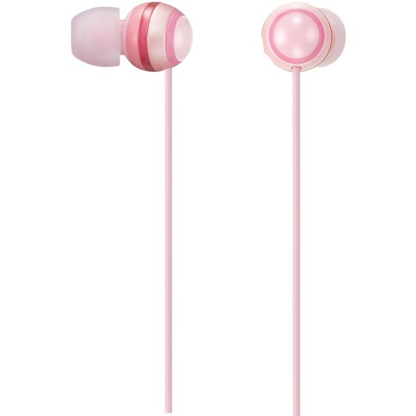 Pink earbuds with volume control - pink headphones with ears