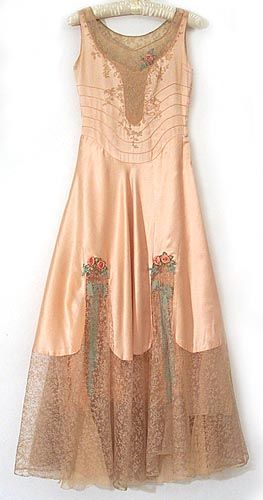 French satin and lace nightgown, 1920s, from the Vintage Textile archives.                                                                                                                                                      More