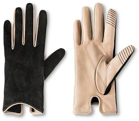 Merona® Women's Touch Screen Compatible Sheepskin Leather and Suede Gloves Black Ivory