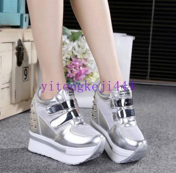 Fashion Shoes Spike Stud Platform Womens Wedge Sneakers Creeper Size