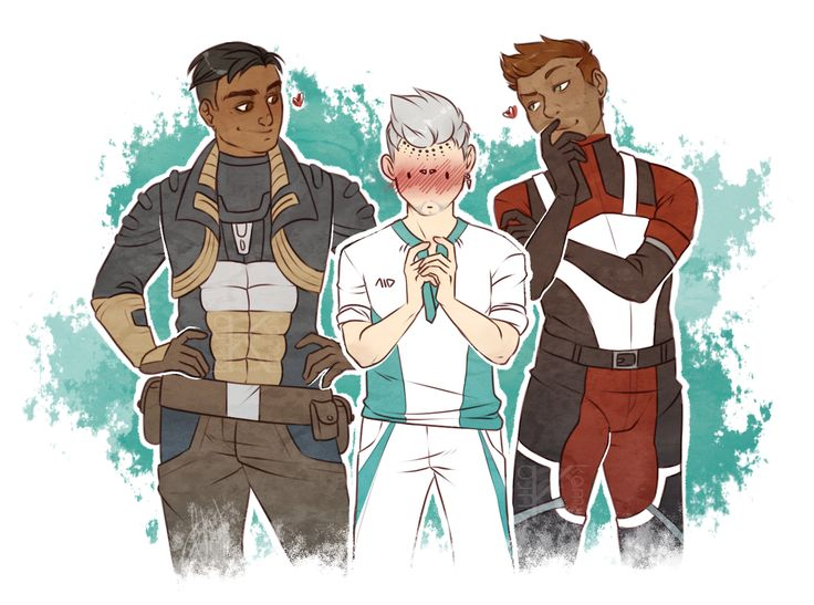 *dies* I think my Ryder has a type. (Tall, dark skinned, witty remarks and grins…they totally are a polyamorous/open relationship to me XD)