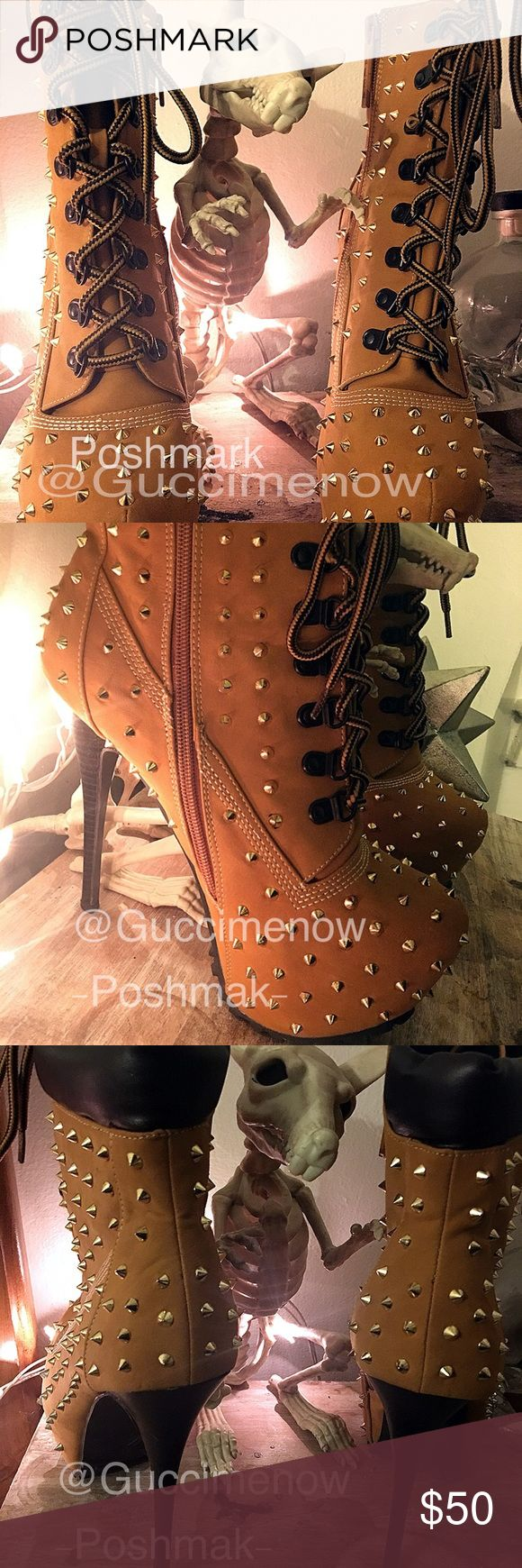 """🔥SPIKED LACED BOOT🔥W/BOX Wether you're from NYC or all the way on the west coast, you'll feel like you want to just walk just about anywhere in these 6"""" platform edgy spiked heels! Never worn perfect condition. Gorgeous shoes comes with original box easy pickings Shoes Heeled Boots"""