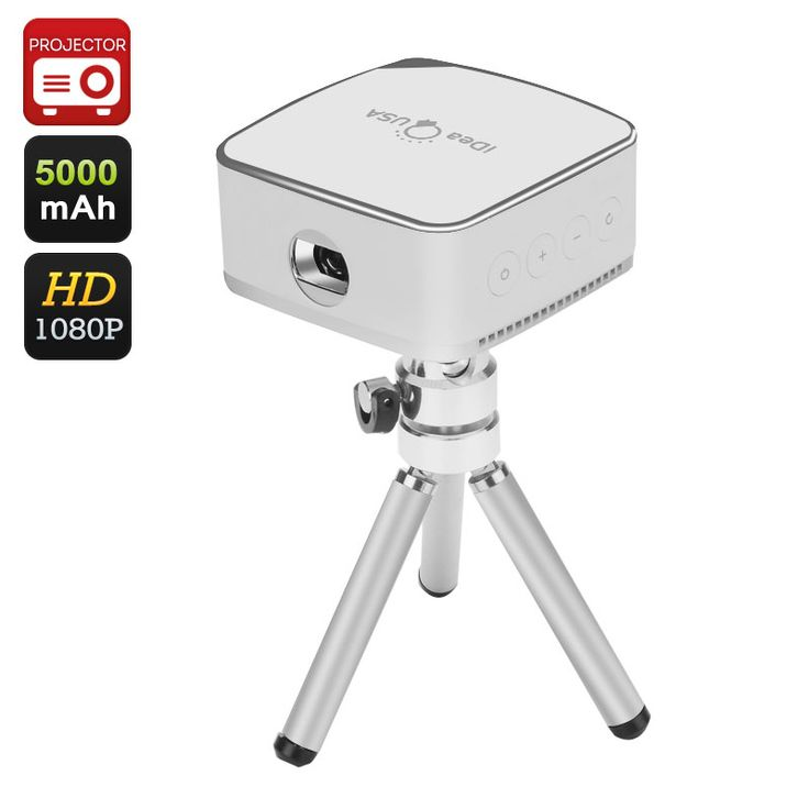 Image of iDeaUSA Pico Mini Projector - 120 Inch Projection, 1080P, 5000mAh Battery, 80 Lumens, Pocket Size, iOS, Android, Mac, Windows