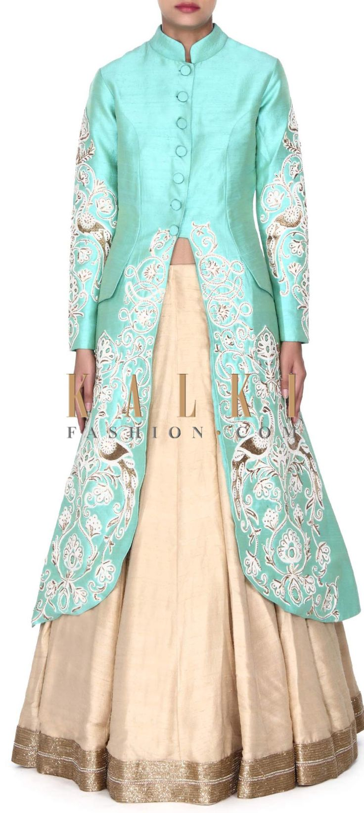 Buy this Beige lehenga with green long jacket blouse only on Kalki