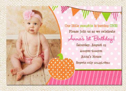 Pumpkin Birthday Party Invitations by LollipopPrints on Etsy, $10.00