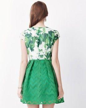 Green Corset Floral Print Insert A-line Mini Dress