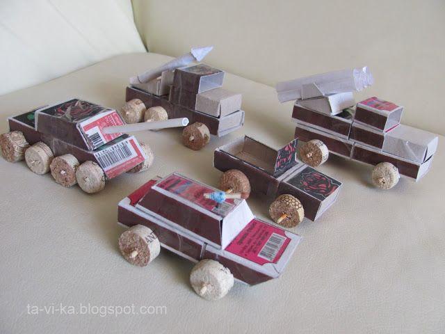 военные машинки из спичечных коробков