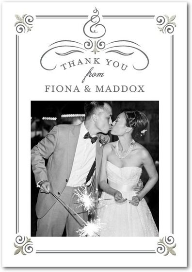 Paper Divas Photo Celebrated Scrolls Creations Grayscale Design Item Front Side Formal And Classical Thank You Cards After Wedding