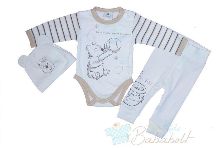 Disney Micimackó 3 részes bébi szett , Disney Micimackó 3 részes bébi szett Eredeti Disney termék. A szett tartalma hosszú ujjú body, kisnadrág, sapka. Anyaga: 100% pamut, Minőség: I. osztály. Magyar, Asti termék. A termékeknél megadott életkor irányadó!, Babaruhák és gyerekruhák, bababútor, kiságyak a babák kényelméért - Hello Kitty, Disney, Hupikék Törpikék. Babakocsik, gyerekülések, légzésfigyelők a biztonságukért. Folyamatos akciók bababoltjainkban és a webáruházunkban.