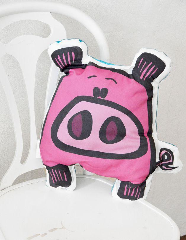 Super Pig - poduszka dekoracyjna - KellyBubble - Poduszki