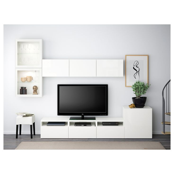 Modern wall storage system in matt white TV unit \ tall cabinet Tv - meuble tv home cinema integre watts