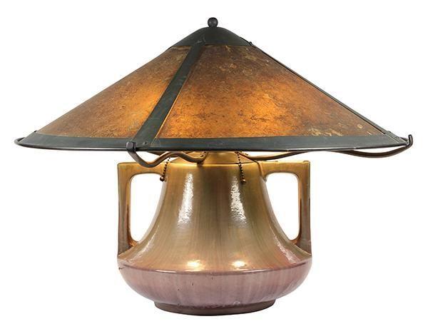 Lillian Palmer Table Lamp Circa 1910 Lillian Palmer Table Lamp Circa 1910 Having A Haeger Pottery Base T En 2020 Lamparas De Mesa Lamparas Art Deco Arana De Epoca