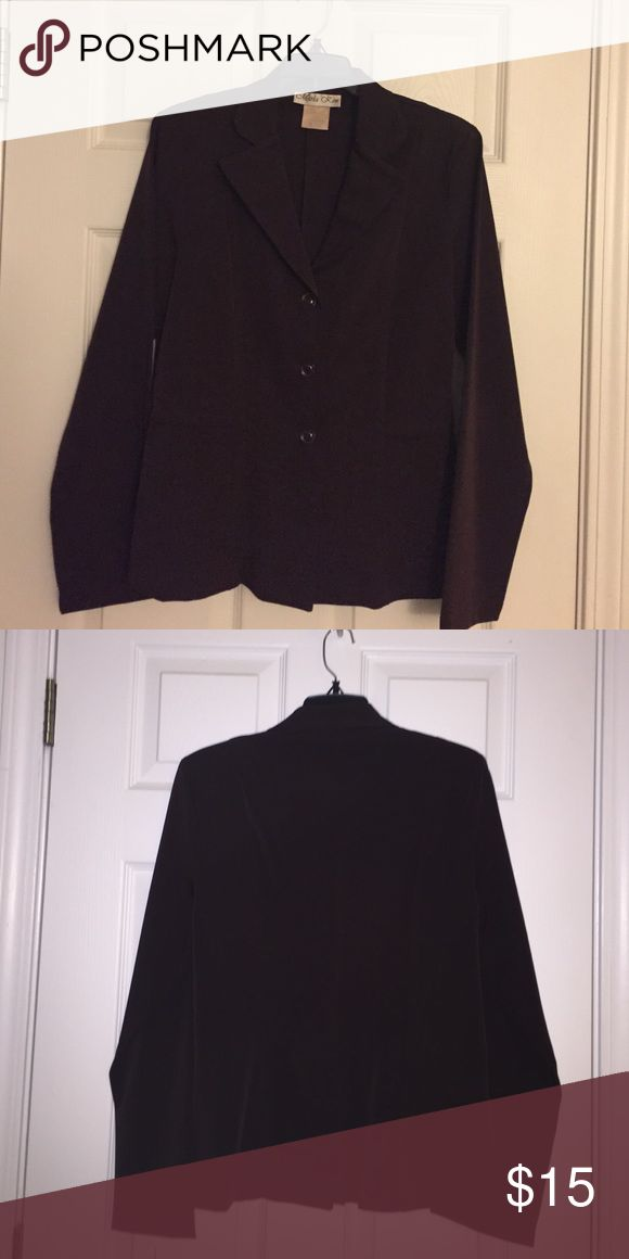 Jacket Marla Kim brown jacket with 3 front buttons, and split in back. Size Medium. Gently used Jackets & Coats Capes