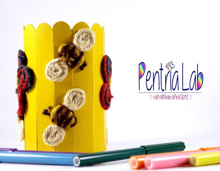 Portapenne in legno, latta e canapa riciclo creativo. : Mobili e contenitori di pentria-lab