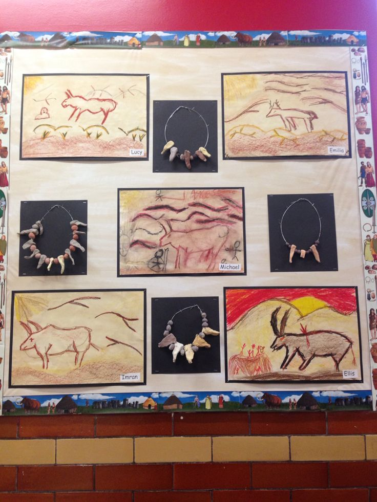 Caveman Art Ks2 : Year cave paintings tea stained cartridge paper and oil