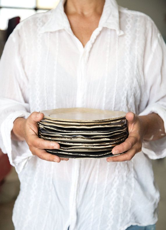 Ceramic Plate,Cake Plates,Stoneware plate,Dessert Plate,Dark Blue Plate,Ceramic Hand Made Plate,Gift For Her