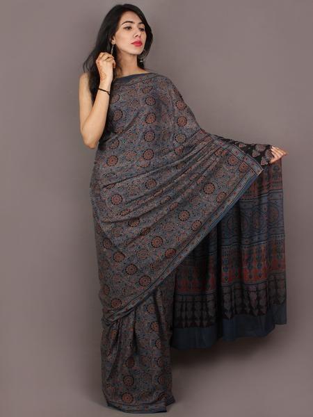 Steel Blue Black Maroon Mughal Nakashi Ajrakh Hand Block Printed in Natural Vegetable Colors Cotton Mul Saree - S031701033