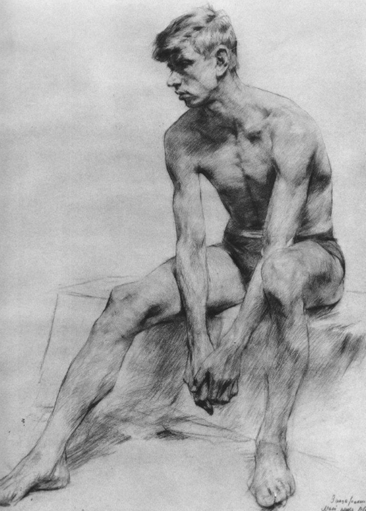 Seated male figure drawing: