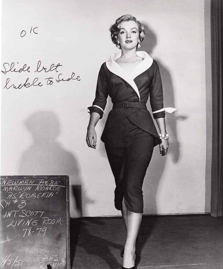 """Marilyn Monroe, costume test for """"Love Nest"""", 1951."""