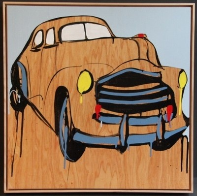 """JASPER KNIGHT """"Havana Blues 3"""" Car, Original Acrylic on Timber, 2012. Image Size: 60cm x 60cm  Frame Size: 62cm x 62cm (Housed in Timber Gallery Frame with Shadow Line - Beautiful)"""
