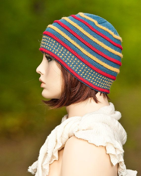 Knitted hat, cap, double brim, indigo color with colored pleats red, yellow, for girls, for women, woolen hat, woolen cap,  winter hat.