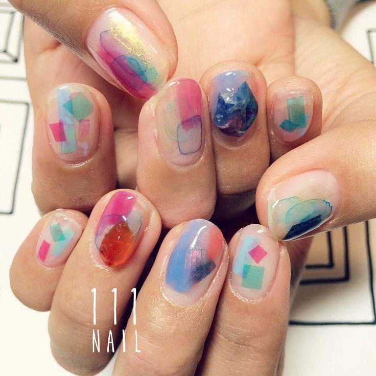 ▫️▫️#nail#art#nailart#ネイル#ネイルアート#nuance#ennui#クリアネイル#水彩ネイル#colorful#ショートネイル#nailsalon#ネイルサロン#表参道