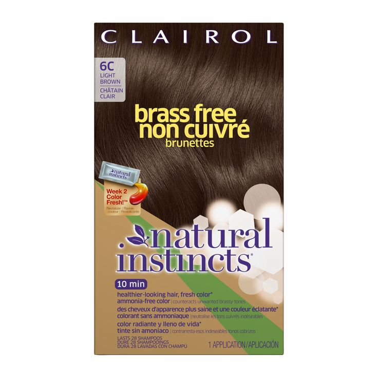 Clairol Natural Instincts Brass Free Hair Color - 6C Light Brown - 1 Kit