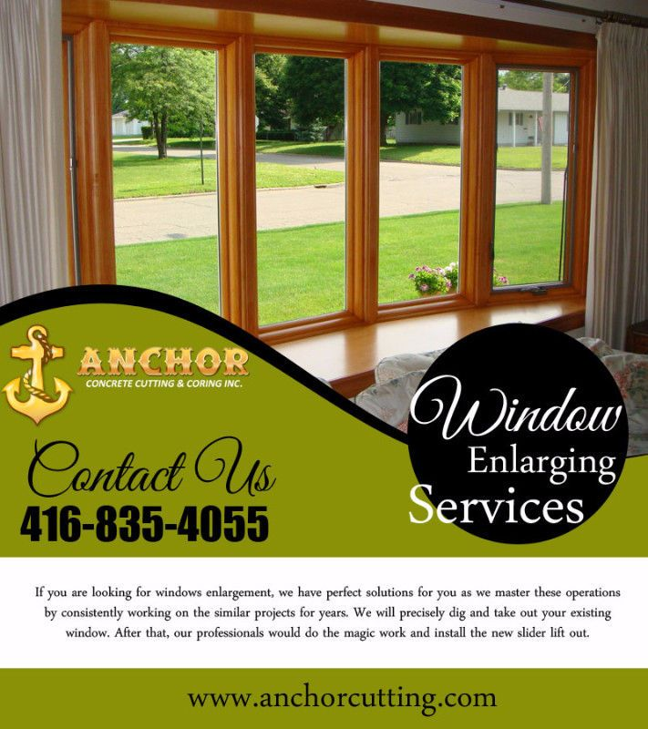 ANCHOR CONCRETE CUTTING & CORING INC. is good in providing best Service of #Window #Enlarging in #Mississauga. Our professionals have different techniques and #equipment to work and #install the new #slider lift out. Give us Call Today at:- 416-835-4055 Website:-http://www.anchorcutting.com/window-enlarging-services.html #WindowEnlargingServicesBrampton