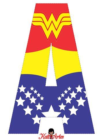 Alfabeto Gratis de la Mujer Maravilla.