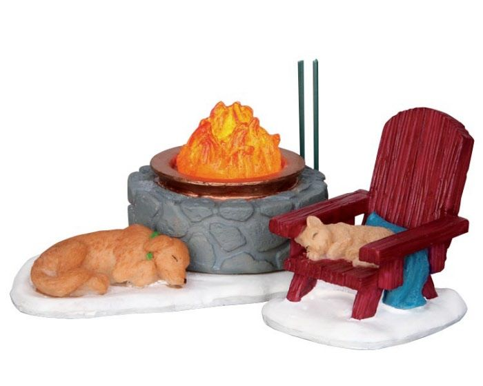 Lemax Village Collection Lodge Fire Pit Set of 2 Battery Operated # 24497 $9.98