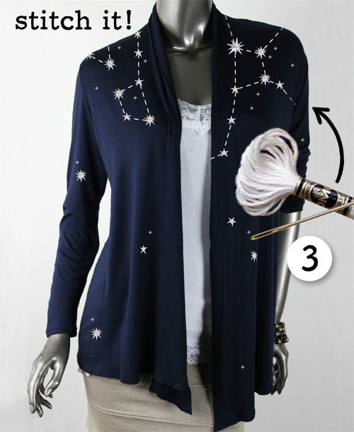 Get inspired by that trendy Constellation cardigan from Anthropologie and then see how easy it is to DIY an even better one!