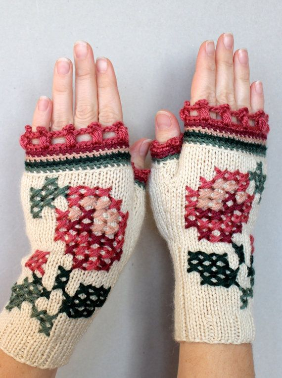 Hand Knitted Fingerless Gloves, Women, Accessories, Gloves & Mittens, Ivory, Gift Ideas, For Her, Winter Accessories, Rose, Embroidered