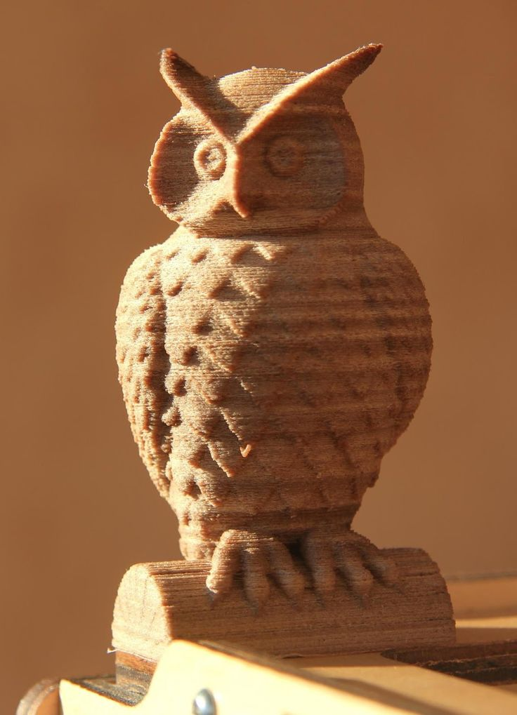 Owl 3D printed with Laywood filament. 3dprinting