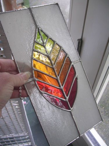 Try color scheme Autumn Leaf! - Gorgeous New Stained Glass Panel & Chain - pewtermoonsilver | eBay