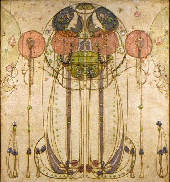 "Detalle de la obra ""The Wassail"", de Charles  Rennie Mackintosh. Esta en Kelvingrove Art Gallery and Museum, en Glasgow, Escocia"