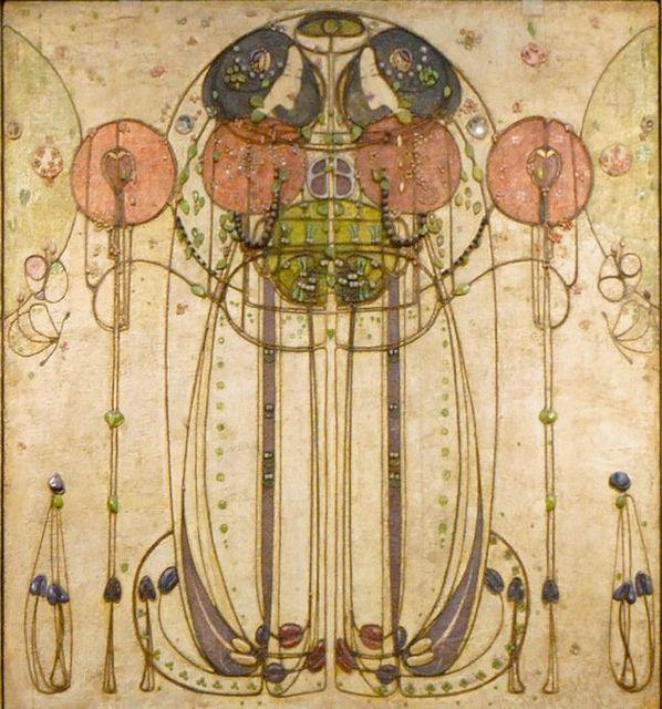 "Detalle de la obra ""The Wassail"", de Charles  Rennie Mackintosh. Esta en Kelvingrove Art Gallery and Museum, en Glasgow, Escocia"