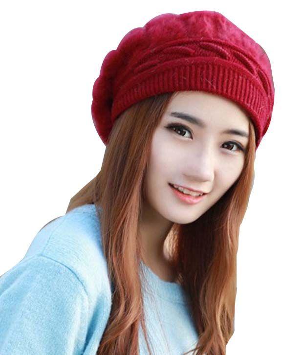Wings Red Casual Woolen Cap