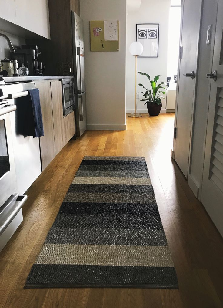 """Welcome to our place (and show room)! Our favorite rug """"Molly"""" from Pappelina is perfect for the kitchen area, bathroom or even outdoors ☀️- Rugs are VERY easy to clean, and made in Sweden! #rugs"""