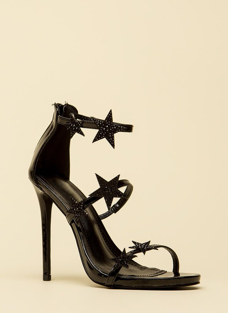 495dc96062 Star-Studded Jeweled Strappy Heels | Shoes and Co | Black strappy heels, Strappy  heels, Heels